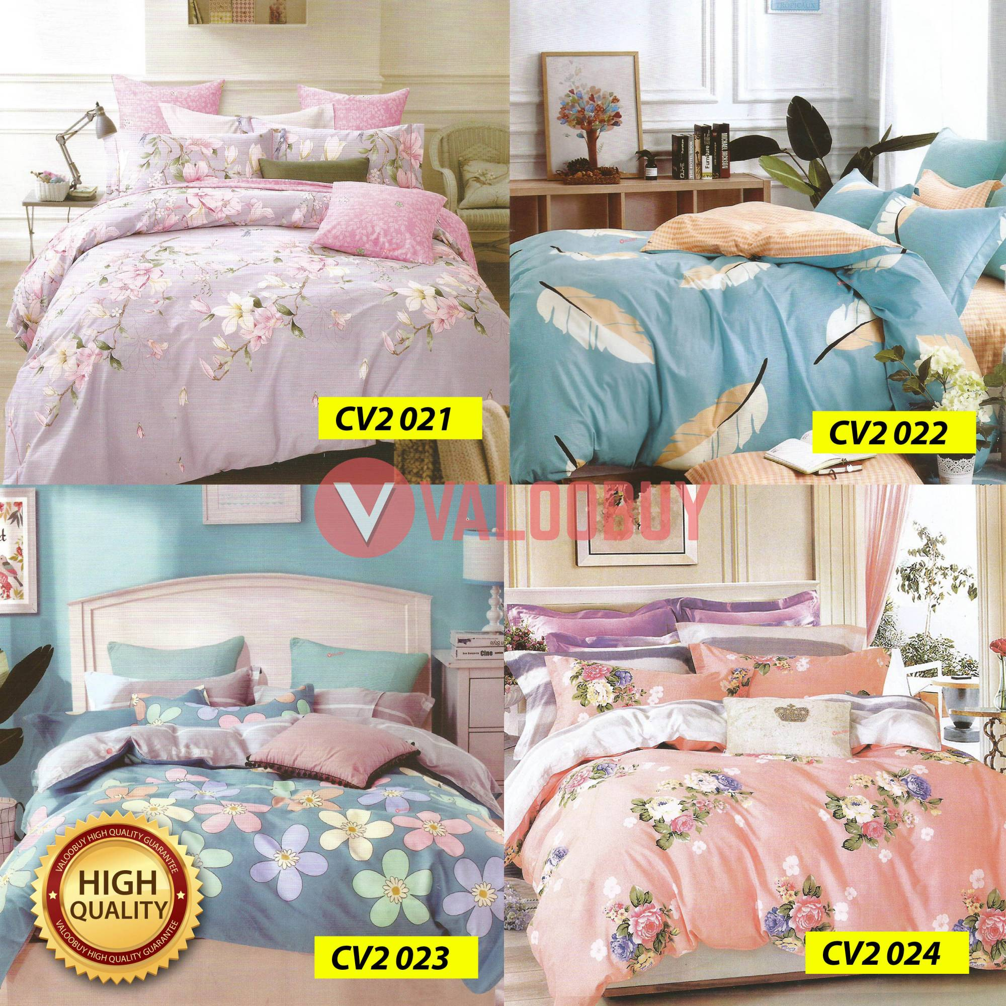 Cadar Valoobuy - 4 in 1 High Quality Bedsheet Cotton for King/Queen