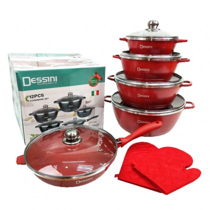 FREE SHIPPING | 12 PCS DESSINI ITALY Non Stick Cookware Set Cooking Pot Frying Pan ORIGINAL [READY STOCK]