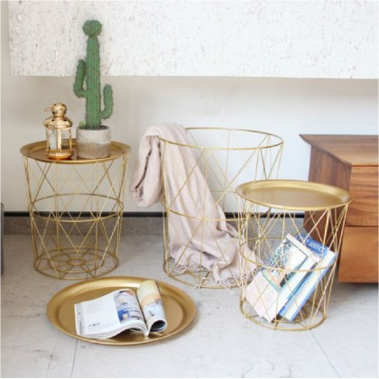 3 IN 1 SET COFFEE TABLE Side Table Coffee Nordic Design Storage Basket Made From Steel SET