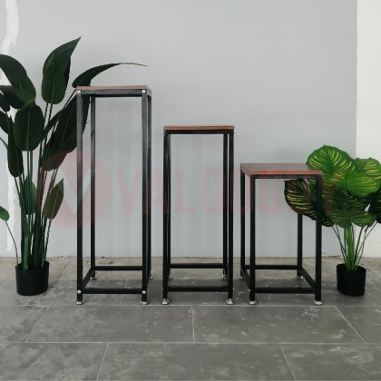 Iron Stand Flower Plant Shelf Iron Pot Rack Artificial Standing Wood Based