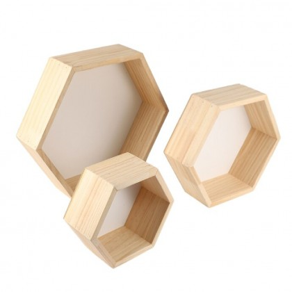 Wood Wall Hexagon Hexagon Wood Wall Storage Shelf Rack