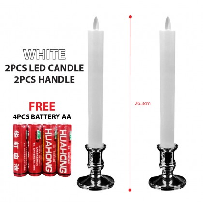 Electric LED Candles 2Pcs Flameless Battery Candle with Holder
