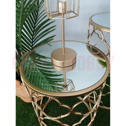 Side Table Mirror Top Home Deco Gold Design Meja Modern Style