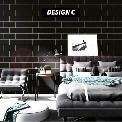 60cm x 3meter Grid Self Adhesive Wallpaper Grid Black and White Background