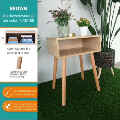 Side Table with Storage Compartment Wood Meja Organizer Simple