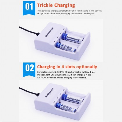 Charger Doublepow Battery AA 1200mAh & Rechargeable 4pcs Battery AA