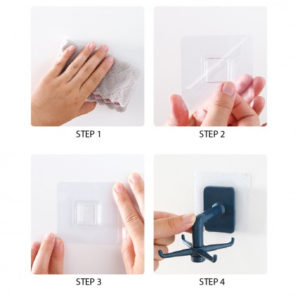Rotate 360° Kitchen Hanger Self Adhesive Multi-function 4 Hooks Storage Rack Wall Mounted Shelves Penyangkut Sudi
