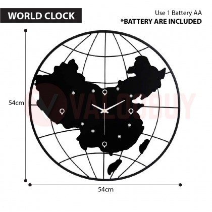 World Clock Exclusive Map Jam Dinding Modern Stye Wall Deco